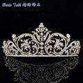 Chique Vistoso Ouro Rhinestone cristal Flor Tiara Coroa Para As Mulheres Do Partido acessórios Jóias XBY158 Frete Grátis