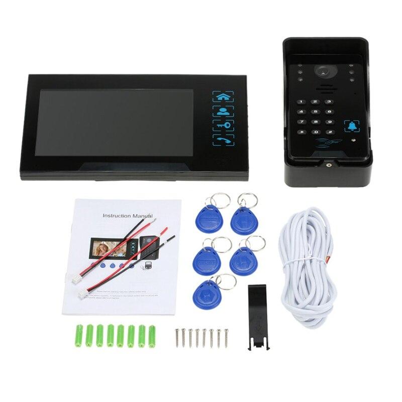 Clé de presse filaire 7 pouces vidéo porte téléphone interphone sonnette système Kit Vision nocturne 1 Rfid clavier Code Ir caméra + 1 moniteur (Eu P