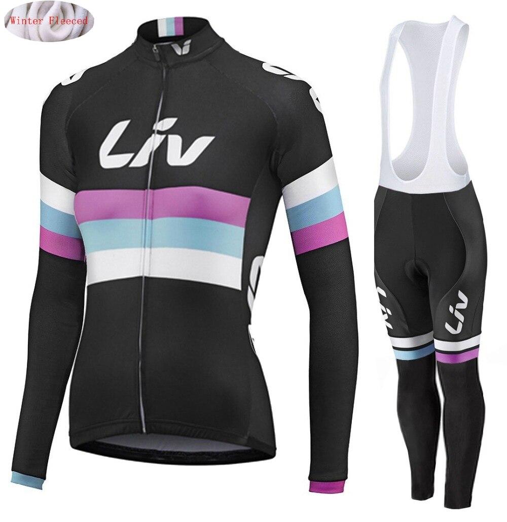 LIV 2018 hiver femmes thermique polaire cyclisme jersey bavoir pantalon ensemble ropa ciclismo invierno vélo vêtements chaud vélo vêtements costume