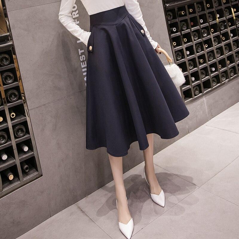 2019 Spring Skirts Womens High Waist A Line Big Swing Midi Skirt Korean Pockets Office Lady Elegant Women Skirt Jupe Femme Falda