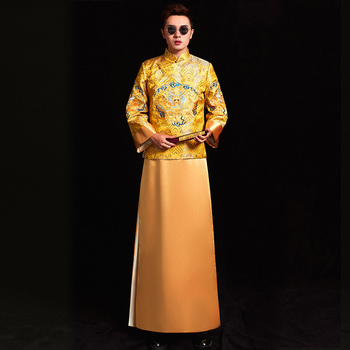chinese style Wedding mens toast costumes Gown embroidery groom evening Long gown kimono bridegroom jacket tang suit Clothes