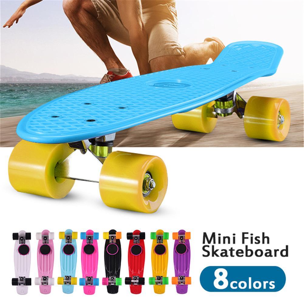 Mini Fish Skateboard Banana Board Long Skate Board for Adult and Children Large Size Including Shoes Pocket