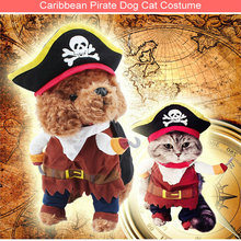 New Caribbean Pirate Cosplay Custome Funny Pet Clothes Creativity Teddy dog Set cat suit Skull Hat Diy Party Corsair Dressing up