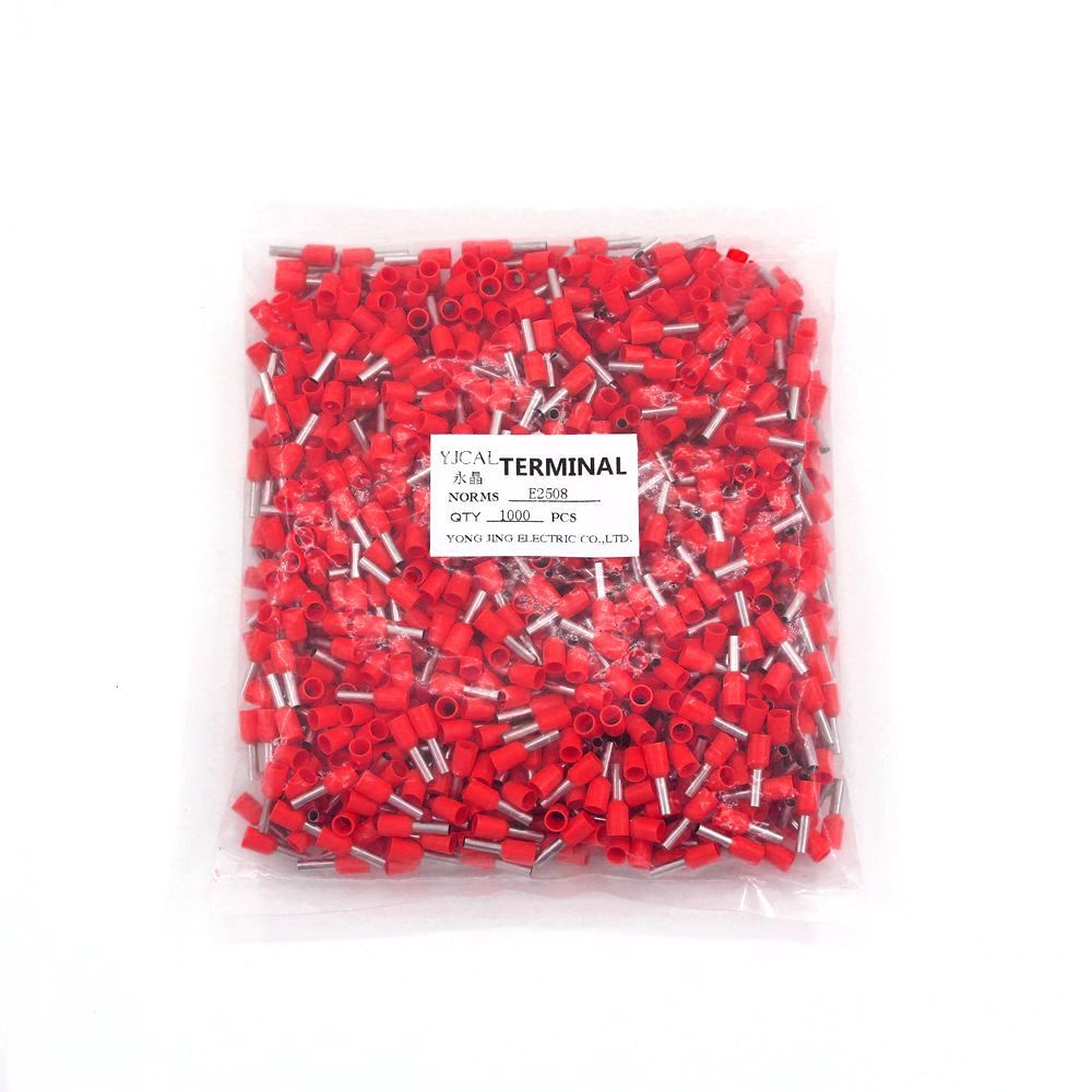 1000pcs Pack E2508 Insulated Cord End Terminal Crimp Terminal Wire Connector Crimp Ferrules Crimping Terminals Tubular in Terminals from Home Improvement