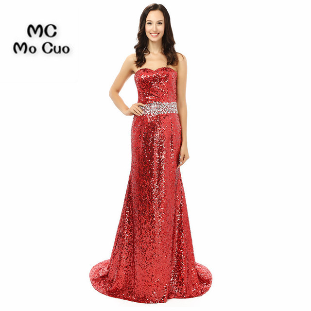 Bling 2017 Red Sequined Prom dresses Long Crystals Mermaid Dress for ...