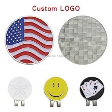 100 Sets Custom Logo Golfbal Mark w Magnetische Golf Hoed Clip 24mm Custom Marker Groothandel