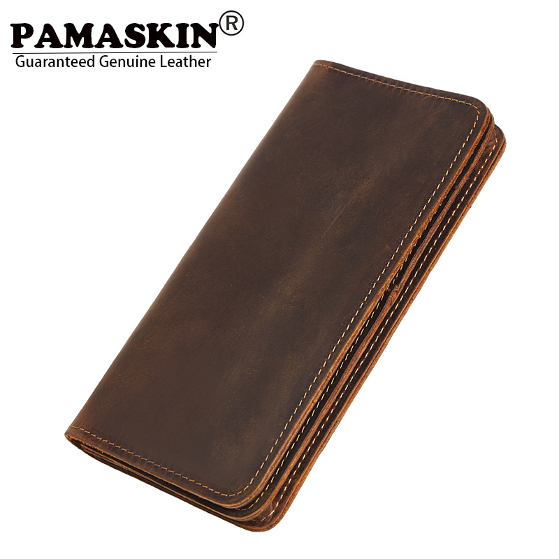 PAMASKIN Business 100% Genuine Leather Men Organizer Wallets Large Capacity Zipper Male Purses With SIM Card Holder 2018 Vintage