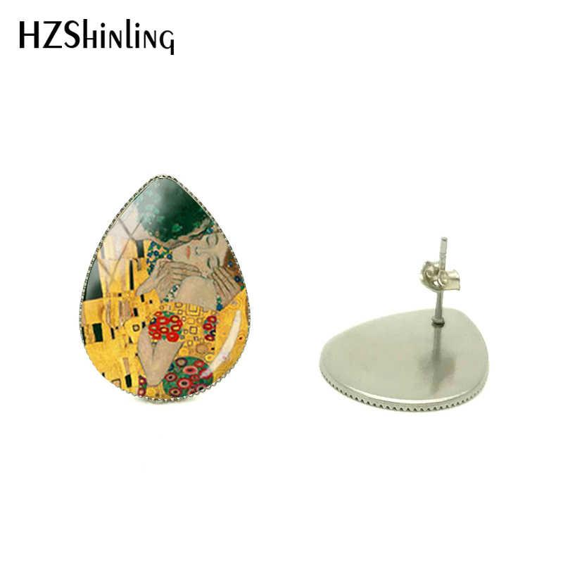 2019 nuevos pendientes a la moda Gustav Klimt gota de agua en forma de lágrima pendiente en forma de madre e hijo de Klimt joyería madre amor bebé pendientes