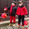 DFXD Ropa Niños Set Invierno Muchachas de Los Bebés del Estilo Chino Año nuevo juego de La Espiga Gruesa Sudadera 2 unid Conjunto Ropa de Niños 2-7Y