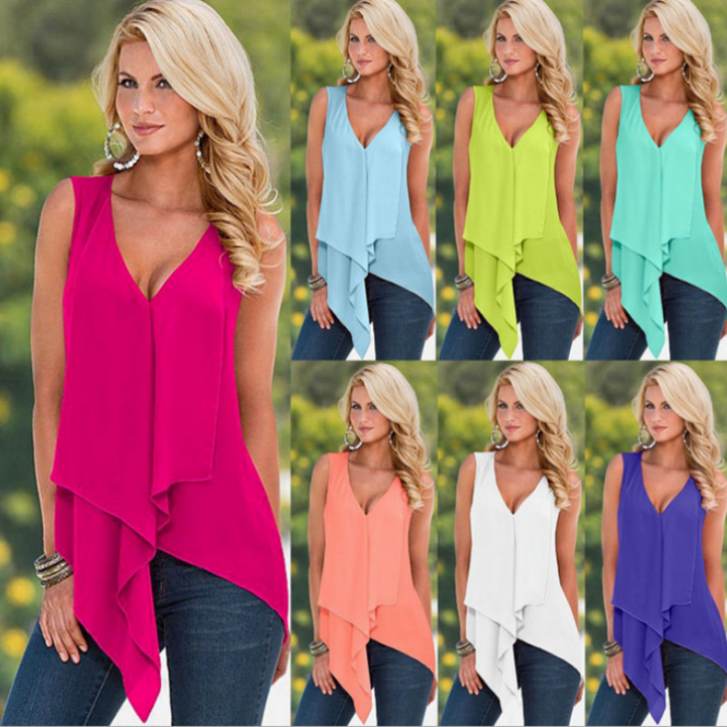 White Yellow Orange Red Purple Green Blue Irregular Women Top Summer Sleeveless Ruffles Blusas Sexy Low Cut V Neck Blouse Shirt