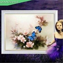 Peony Painting Butterfly Cross-Stitch Needlework QIANZEHUI Flower Bedroom Living-Room