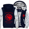 2016 New Game Of Thrones House Of Targaryen Autumn Winter Zipper Fleece Hoodies Men Hoody Hip Hop Coat USA EU size Plus size