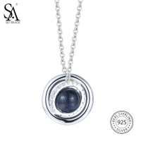 SA SILVERAGE Real 925 Sterling Silver Planet Necklaces Pendants For Women Fine Jewelry Black Aventurine CZ