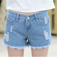 Fashion Mid Waist Hole Stretch Denim Shorts New Design 2016 Summer Black White Blue Plus Size