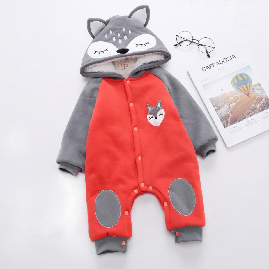 Ambitious 1pc Buttons Fox Cartoon Baby Boy Hoody Bodysuit Cotton Thick Infant Girl Outfit Jumpsuit Infant Winter Clothes