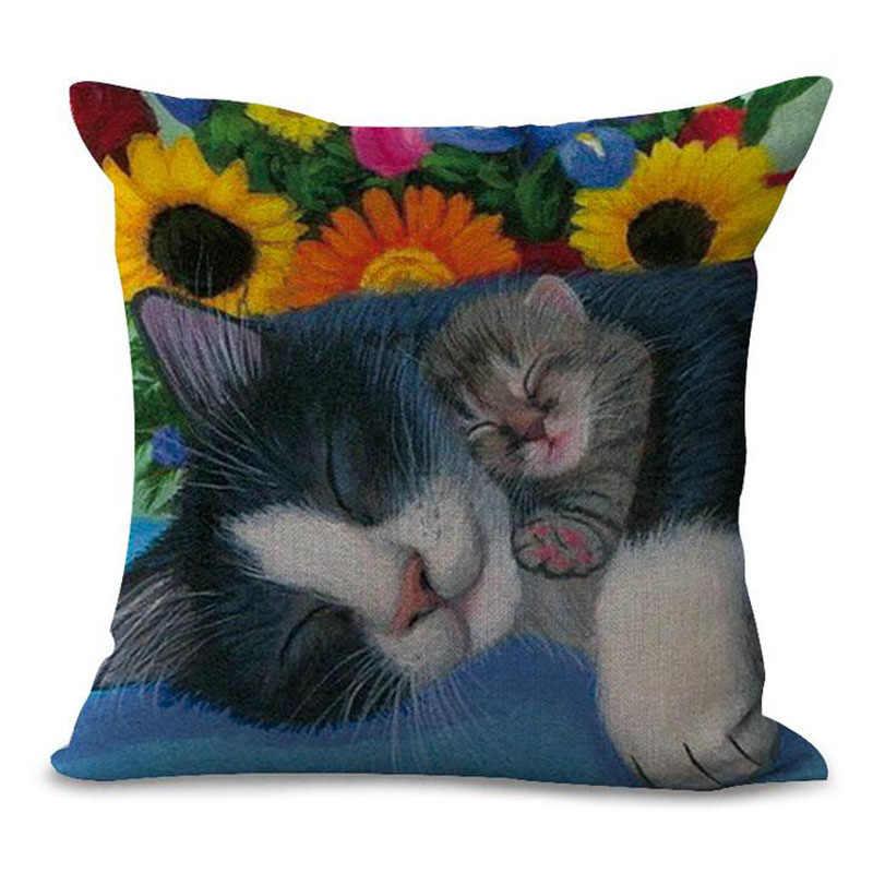 Gatos de Impressão bonito Do Gato Capa de Almofada de Linho Colorido Padrão Decorativo Caso Jogar Travesseiro para o Sofá Moda Personalizado Fronha