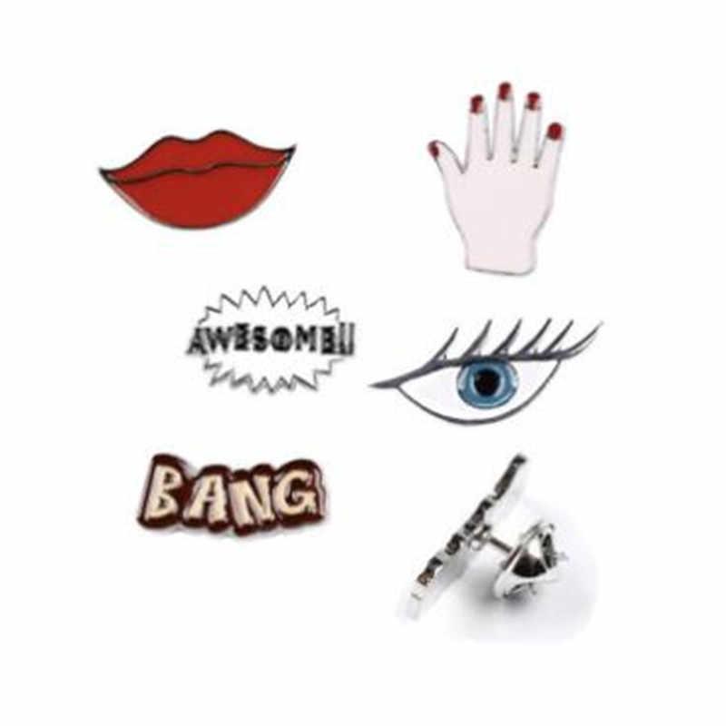 Wkoud Bang Mengagumkan Seksi Merah Bibir Mata Tangan Lucu Enamel Pin Set Bros Set Kerah Pin Set untuk Jeans Hat lencana