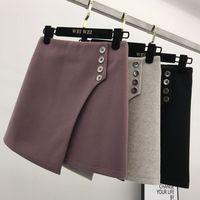 Winter Woolen Skirt Women New Korea High Waist Buttons Irregular Body building Skinny Skirt Women's All match Basic Skirts Lady