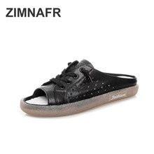 Women fashion slippers 2019 summer women genuine leather retro flat slippers casual fashion shoes women sandals tyawkiho genuine leather women sandals flat heels summer shoes slip on 2018 retro lazy shoe women casual leather sandal handmade