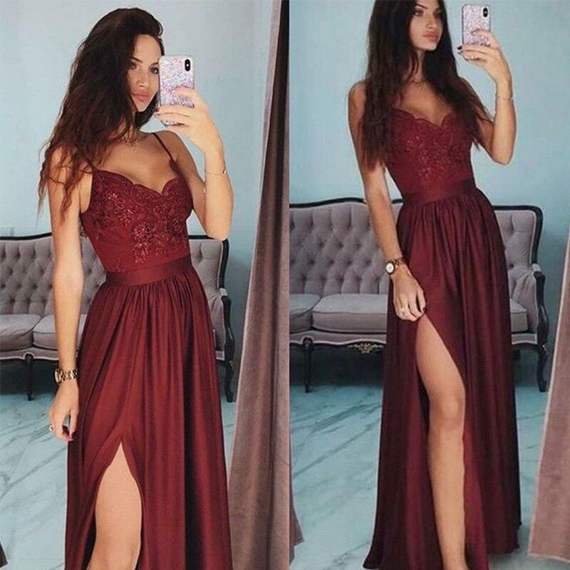 New Arrival Sexy Burgundy Evening Dresses Long 2019 Women Formal Evening Party Dress V-neck Spaghetti Straps Vestido De Noche
