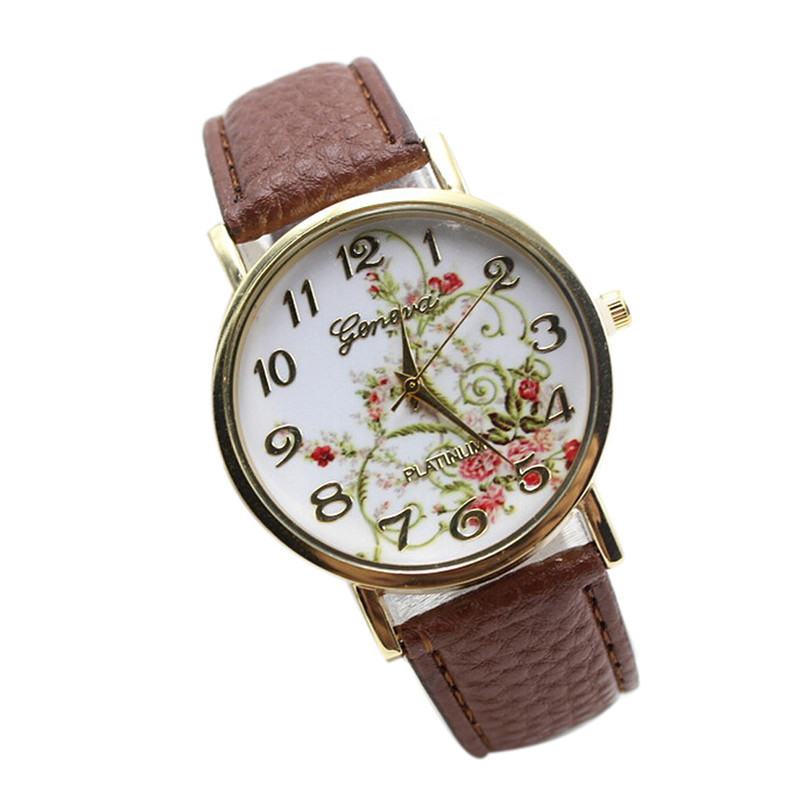 Women watch Flower Design High Quality New Fashion Leather Band Analog Quartz Vogue Wrist Watches relogio feminino Wholesale P5 fabulous 1pc new women watches retro design leather band simple design hot style analog alloy quartz wrist watch women relogio