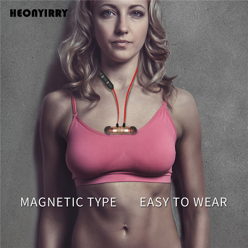 Metal Sports Bluetooth Headphone Sweat Proof Earphone Magnetic Earpiece Stereo Wireless Headset for Mobile Phone for iphone