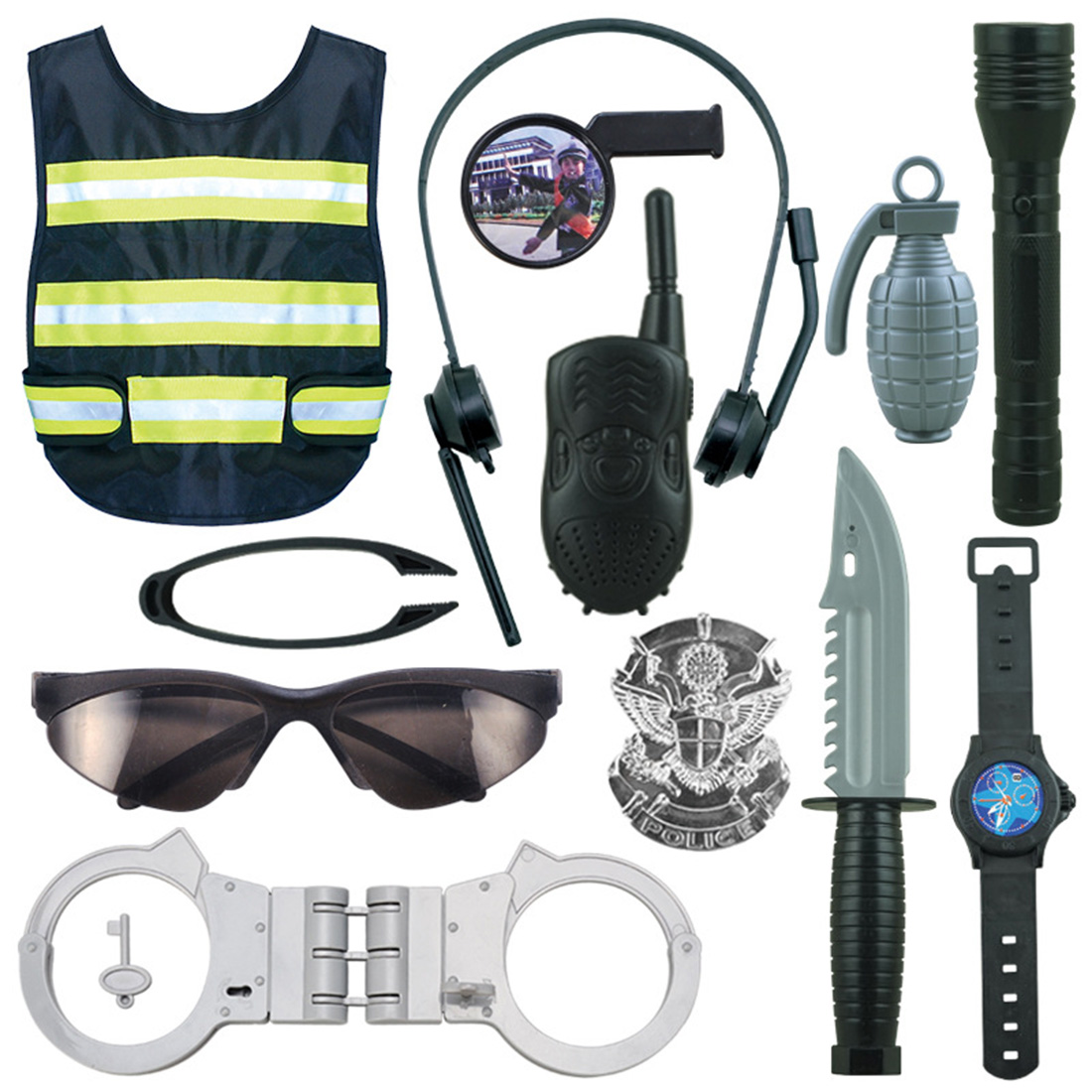 UTOYSLAND 12Pcs Children Role Play Police Costume Cop Dress-Up Clothes Playset Kids Pretend Play Walkie Talkie Handcuffs Set Toy