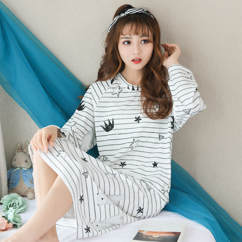 New Arrival Autumn And Winter Womens 100% Cotton Sleepwear Nightdress Comfortable Sexy Striped Long Sleeve Nightgown M-XXL