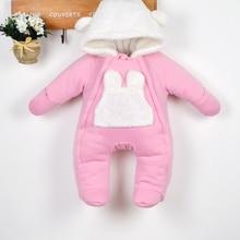 Осень зима комбинезон одежда младенца дети вниз хлопка толщиной ползунки пальто новорожденных девочек теплый комбинезон куртка