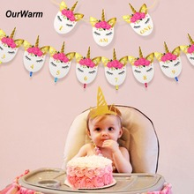 OurWarm 1Set Unicorn Birthday Banner 1st birthday decorations Photo Gold Headband Party supplies