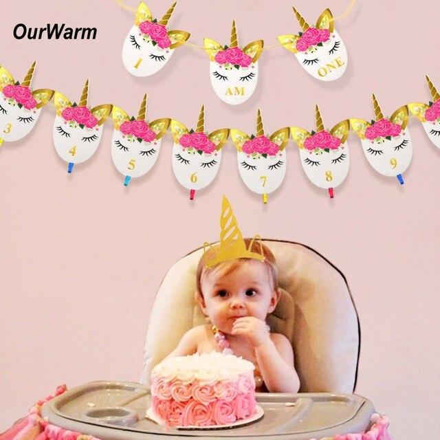 OurWarm 1Set Unicorn Birthday Banner 1st Decorations Photo Gold Headband Party