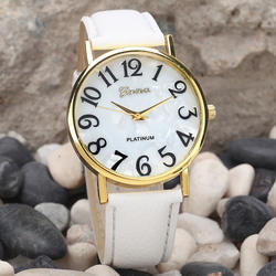 Женские модные часы Ретро цифровой циферблат часы кожаный ремешок Кварцевые аналоговые наручные часы WatchesF3