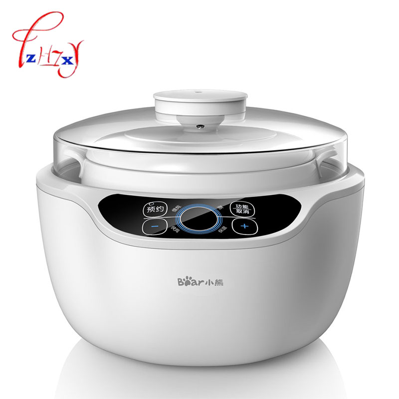 Automatic porridge pot 1.2L Electric Cookers Slow Cooker 220V Mini Casserole Cooker Electric Stoves DDZ-A12A1 1pc bear ddz b12d1 electric cooker waterproof ceramics electric stew pot stainless steel porridge pot soup stainless steel cook stew