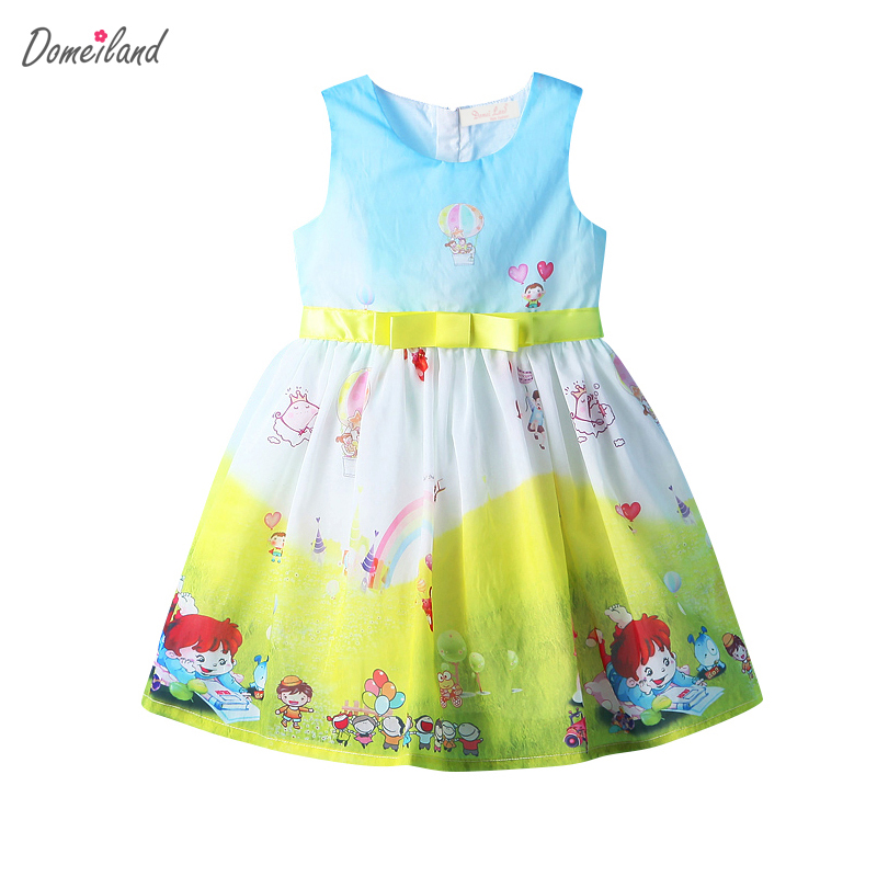 2017 fashion summer domeiland children clothing cotton cute kids girls print cartoon Princess sleeveless Dress bow party dress new girls dress brand summer clothes ice cream print costumes sleeveless kids clothing cute children vest dress princess dress