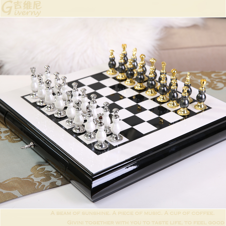 High Quality International Chess Set With Unfoldable  Chess Board Nice Gift For Friend Free Shipping