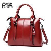 PONGWEE Vintage Style Tote Purse Bag Women High Quality PU Handbags Shoulder Bag Bolsa Feminina Crossbody