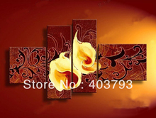 54 Panel Wall Art abstract flower  Oil Painting On Canvas for living room three color can select Free shipping