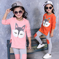 2016 new spring autumn Girls Kids Fox two-piece suit long T-shirt + Leggings comfortable cute baby Clothes Children Clothing 15W