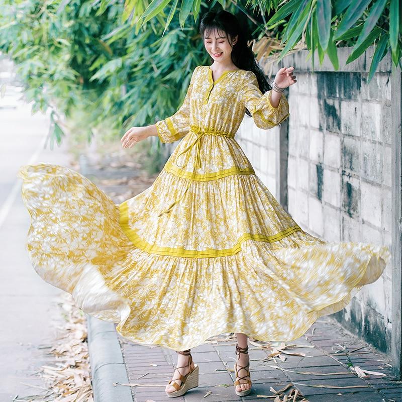 Vestidos verano 2019 Frühling Floral Baumwolle Maxi Gelb Kleid Frauen Elegant Böhmischen Casual modis Lange Kleid V ausschnitt vadim kleidung-in Kleider aus Damenbekleidung bei  Gruppe 1