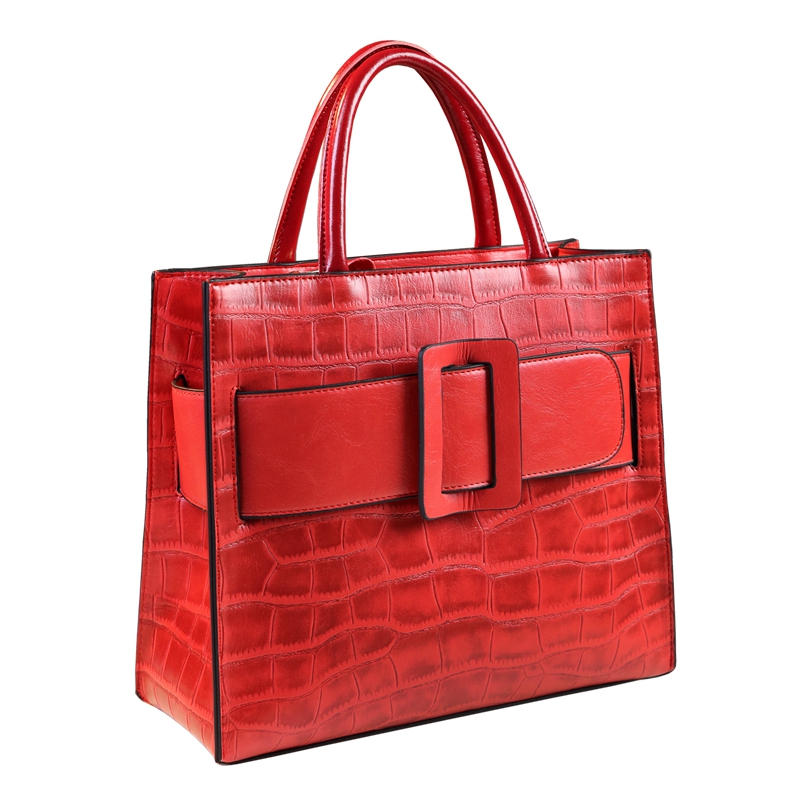 ICEV new classic top handle bag alligator women leather handbags of famous brands embossed bags solid zipper large capacity tote