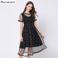 Mesh Dress Women Plus Size Summer Black O neck Work Casual Party Slim Sexy Long Dresses Vintage Vestidos De Verano Robe Longue