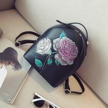 2017 Для женщин цветок Рюкзаки Роза шаблон Мода Малый Школьные сумки для подростка Сумки Mochila Ретро Сумки на плечо