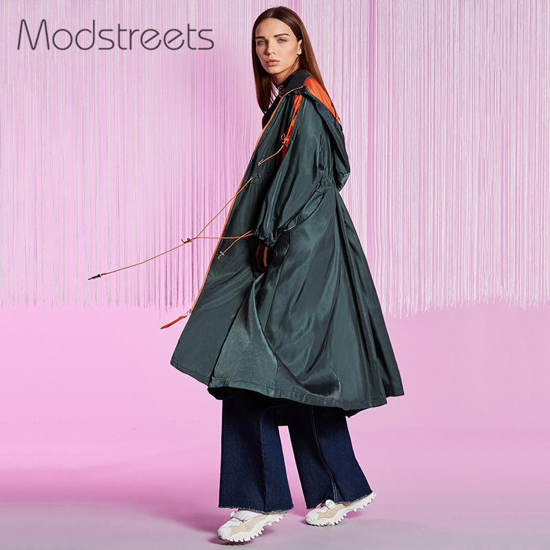 Streetwear Manteau Hit Tranchée À Coupe Manches Baisse Couleur Cordon vent Femme Longue Capuche Green Longues De Femmes Army Mostreets Pardessus Cardigan WBSxgS