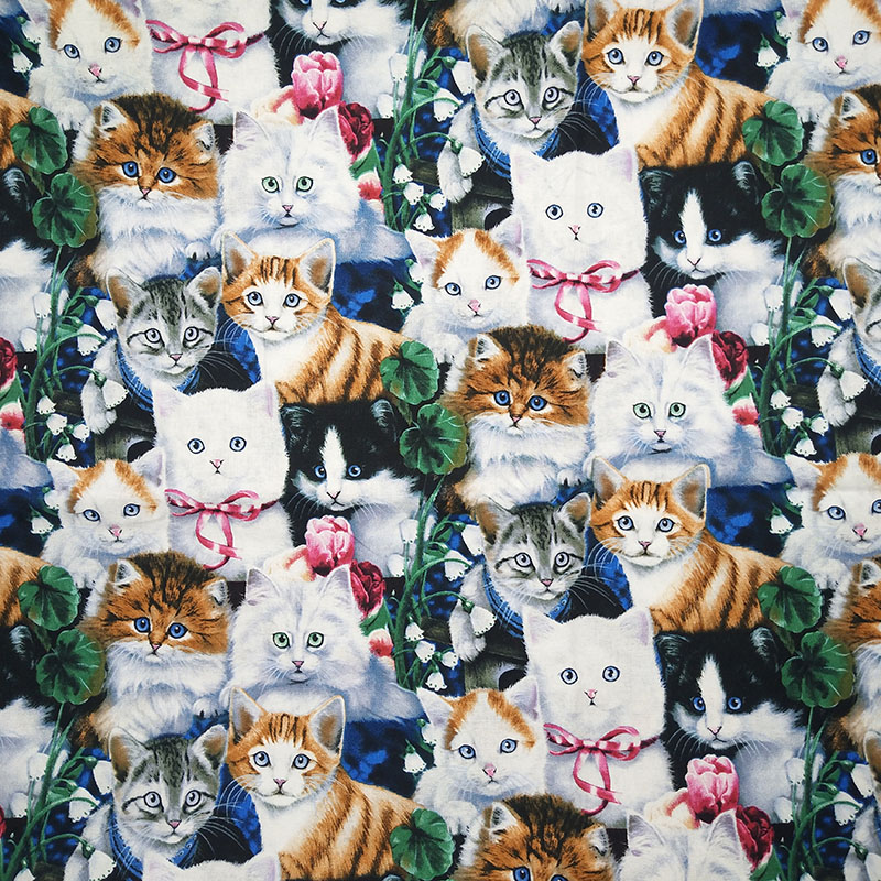 110cm Wide Cartoon Cat Fabric 100 Cotton Fabric Telas Patchwork Groups Cats Print Fabric Sewing Material Diy Clothes Quilting Printed Fabric Telas Patchworkfabric Cat Aliexpress