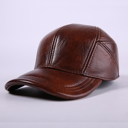 Male Genuine Leather Hat Cowhide Baseball Cap Ear Protection Elderly  Leather Casual Outdoor Baseball Cap Adjustable B-7192