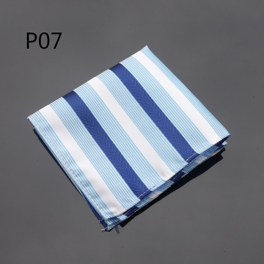 Handkerchief Wide Striped Blue White Hanky Men Tie Jacquard Woven Pocket Square Fashion