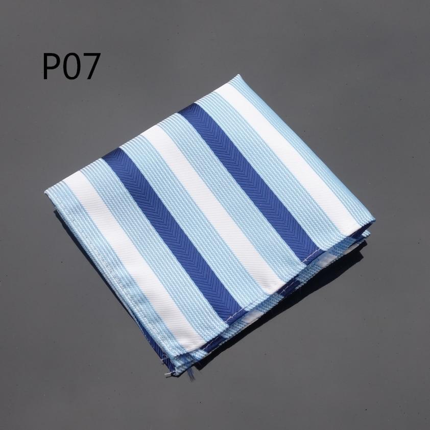 Handkerchief Wide Striped Blue White Hanky Men Tie Jacquard Woven Pocket Square Fashion