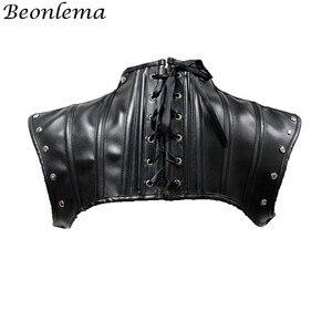 Image 3 - Beonlema Steampunk צוואר מחוך אביזרי שחור גותי צמרות Shapewear צעיף נשים רטרו מחוך סקסי עור מסמרות מחוכי