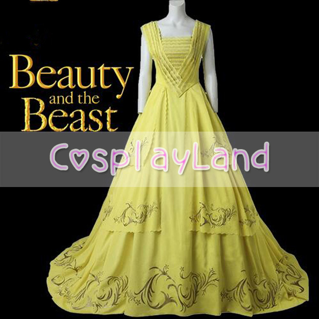Princess Belle Dress Long Evening Wedding 2017 Beauty And The Beast Cosplay