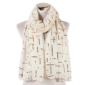 Image 5 - FOXMOTHER Nieuwe Mode Marine Wit Roze Folie Goud Plaid Cross Moslim hijab Sjaals Sjaal Wrap Sjaals Voor Dames Bufanda Echarpe